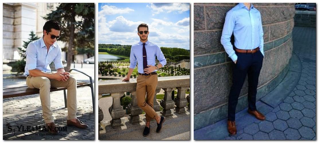белая рубашка и коричневые туфли фото сочетают